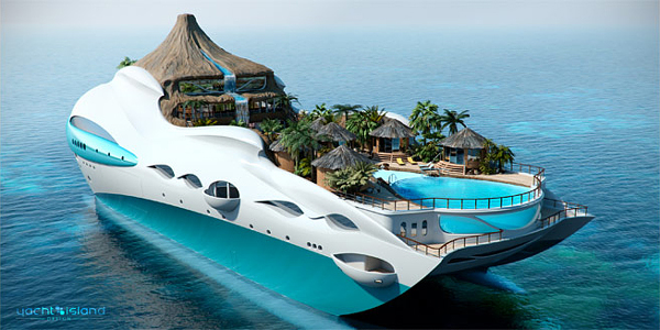 tropical island paradise luxury yacht